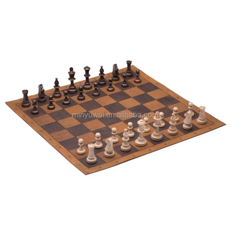 high-end  handmade leather tournament international chess and chekers set