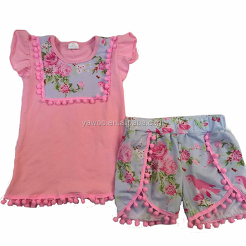 Summer pink blue fashion 2pcs baby girls cute boutique outfits wholesale cheap kids designer clothing set flower print online