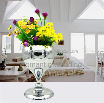 Unique Flower Metal Vasesilver Flower Metal Wedding Vase For