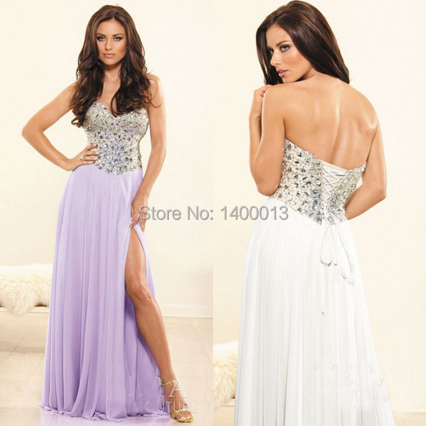 2015 New Arrival Affordable Sweetheart Neckline Side Slit Chiffon Long Ivory Or Purple Prom Dresses Formal Party Dresses