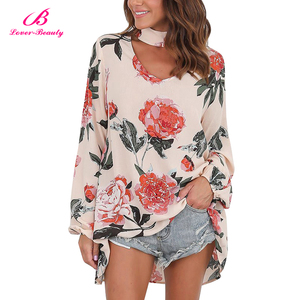 Big Stock Cut Out Front Loose Fit High Low Hem Print Cotton Lady Blouse Tops Women