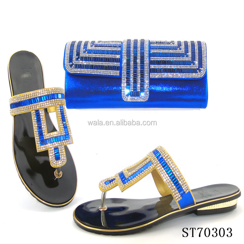 for 3 bags slipper matching promotion women price royal flat italian blue ST70303 vdO1xq1