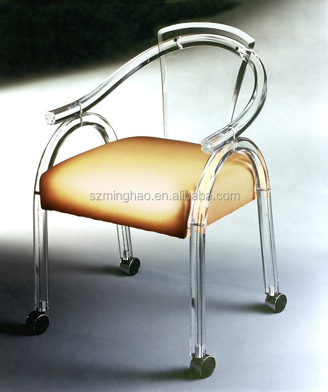 clear acrylic office chair with wheels and cushion buy clear acrylic