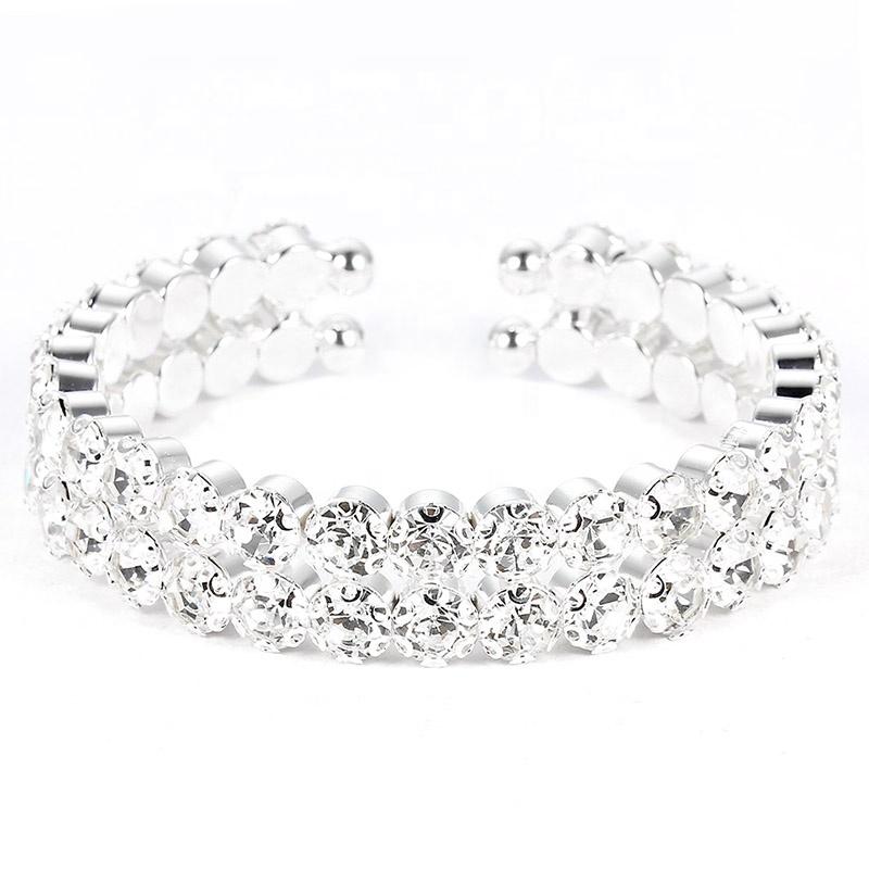Ladies Women Full Crystal Rhinestone Bracelet Bangle For Women Bride Wedding