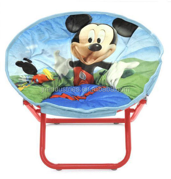 Red Moon Chair With Butterfly Print, High Quality Round Saucer Kids Chairs