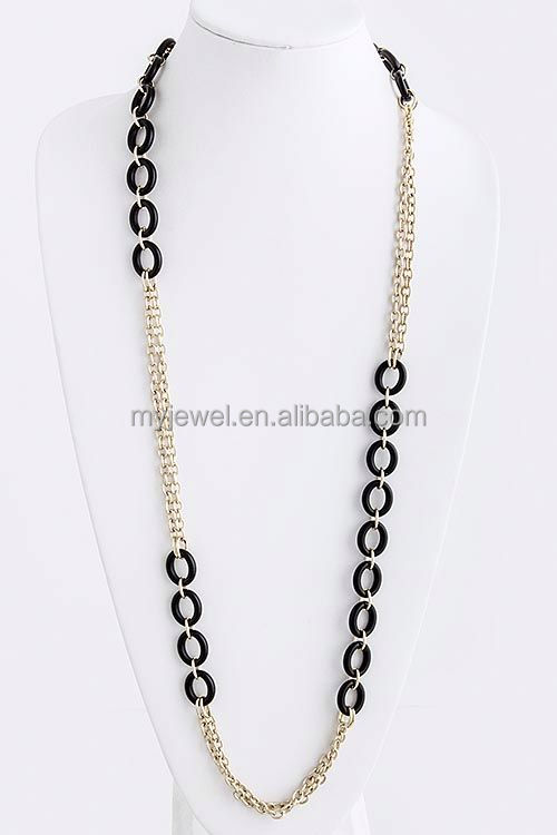 LONG DOUBLE CHAIN OVAL NECKLACE free rosary bead necklace