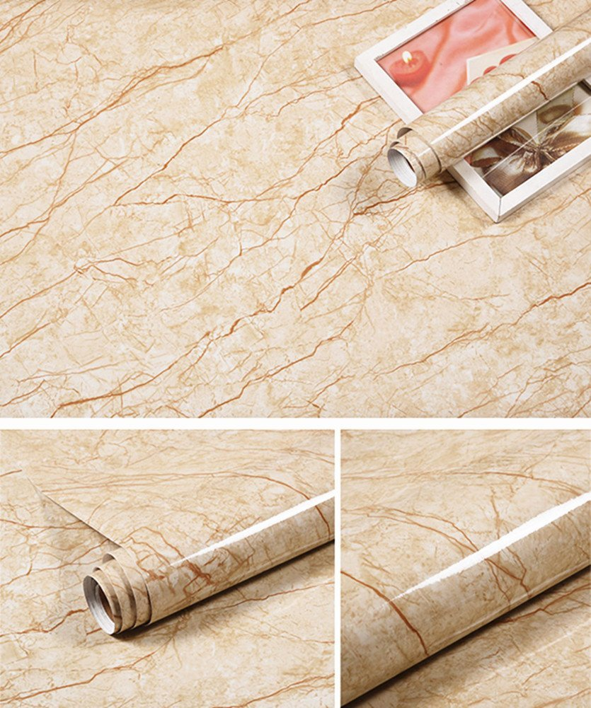 MULLSAN Granite Look Marble Effect Self-adhesive Contact Paper Film Peel-stick Counter Top Floor Tiles 24''x79''