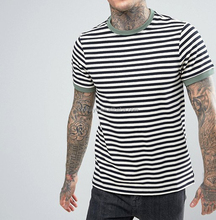 Men'S Plain 100% Cotton Slim Fit Black And White Custom Striped T Shirt With Contrast Color Collar
