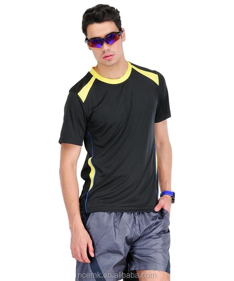 Black And Yellow Combination Mens Sports T Shirt Running T Shirt ...