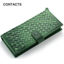 100% Real Genuine Leather Brand Wallets Handmade Sheep Skin Knitting Women Purse Zipper Coin Pocket Purse High Class Money Bag