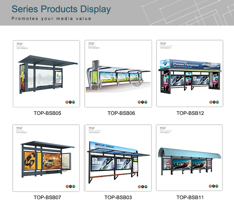 High Quality Stainless steel & Glass Strong Structure Modern City Traffic  Bus Shelter for Sale