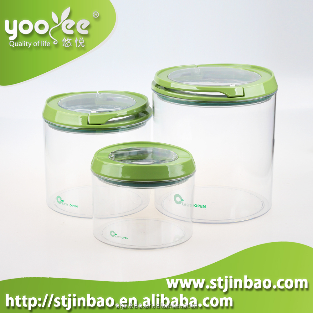 3pcs Fda Food Grade Airtight Clear Plastic Canister Set With Lid ...