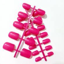 24 шт., блестящие ярко-розовые накладные ногти, акриловые накладные ногти, Короткие Размеры, женские ногти, дизайн, полное покрытие, советы, Ма...(Китай)