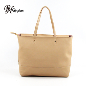 New Fashion High Quality Synthetic PU Leather Women Portable Big Size Tote Handbag For Travel