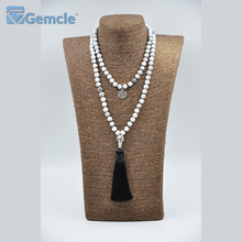 GC-N0041 Hand-knotted 3.5 Inches Tassel Howlite Stone Gemstone 108 Mala Beads Necklace
