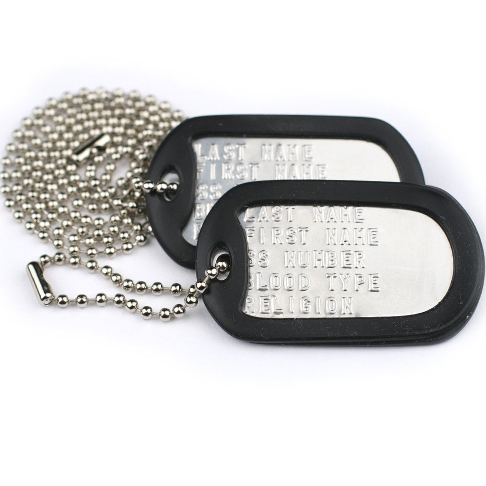 Get Quotations · GoTags Custom US Military Dog Tag Personalized ID Set.  Complete with Chains and Silencers. 24d186e1f221