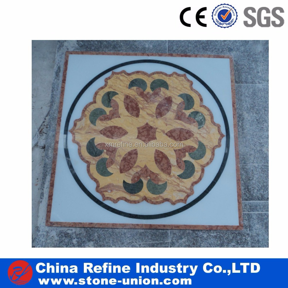 interior decoration waterjet marble medallion stone hotel flooring