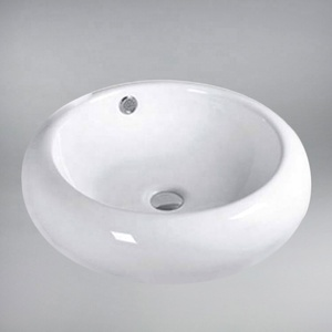 Cheap prices no faucet hole european round vessel ceramic bathroom sink