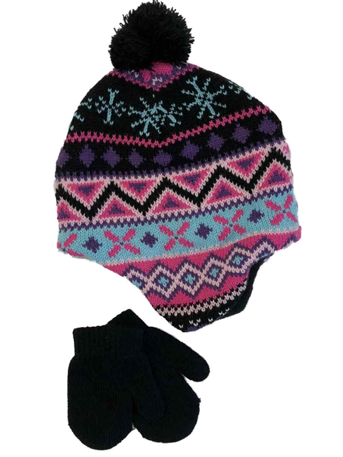 39fd8681735 Get Quotations · Infant Girls Black Nordic Print Knit Baby Pom Beanie    Mittens Trapper Hat Set