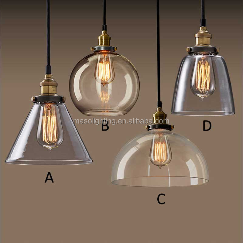 Modern Industrial Glass Hanging Pendant Lamp E27 Edison Bulb Copper Light  Fixture Restaurant Coffee Shop Pendant