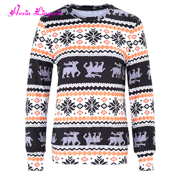 winter women christmas printed latest tunic tops designs custom wholesale sweat shirts