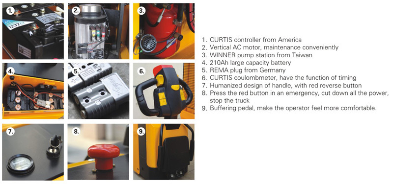 2000KG Capacity, Powered Pallet Truck, Electric Power Steering, CURTIS Controller
