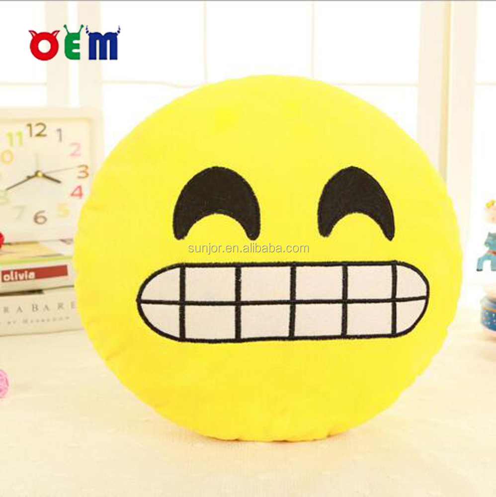 Stuffed Smiling Pillow Cushion with Various Emoticon Expressions Faces Moods
