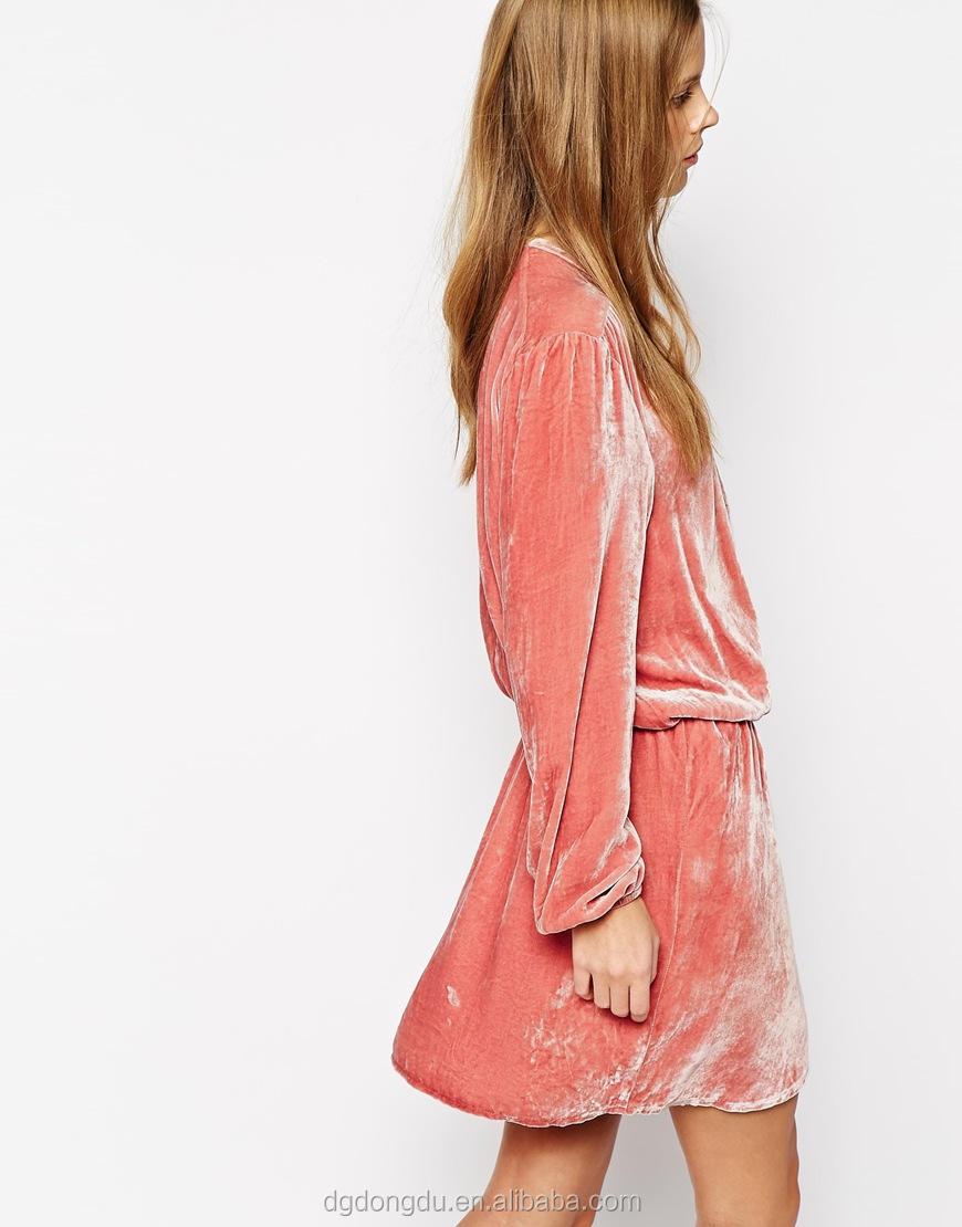 V de profundo cuello vestido precioso mangas rosa en envuelto largas Sexy terciopelo ETBRqWE