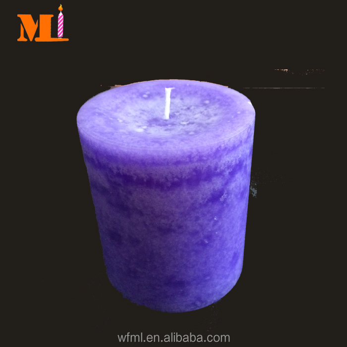 Professional Design Dark Purple Color Dripless Pillar Candle Sale Supplier