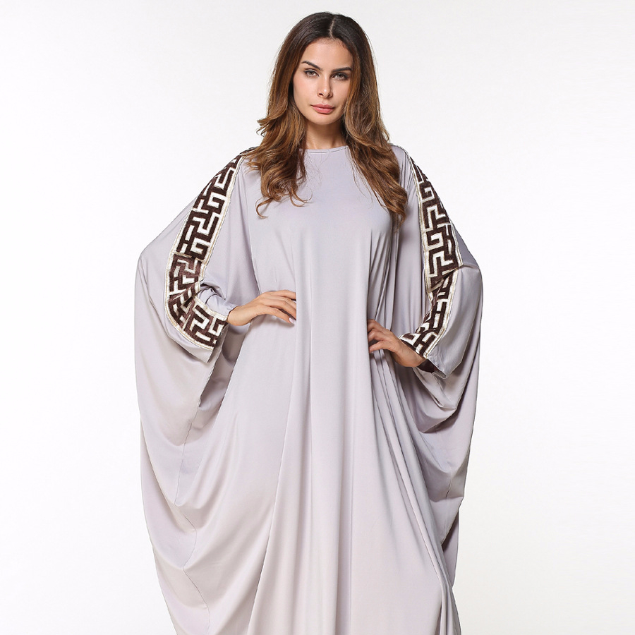 Hot selling voorraad borduren moslim casual wear dames kaftans gebed jurk