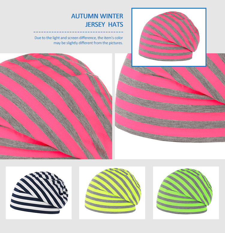Wholesale cotton plain slouchy reversible striped hats