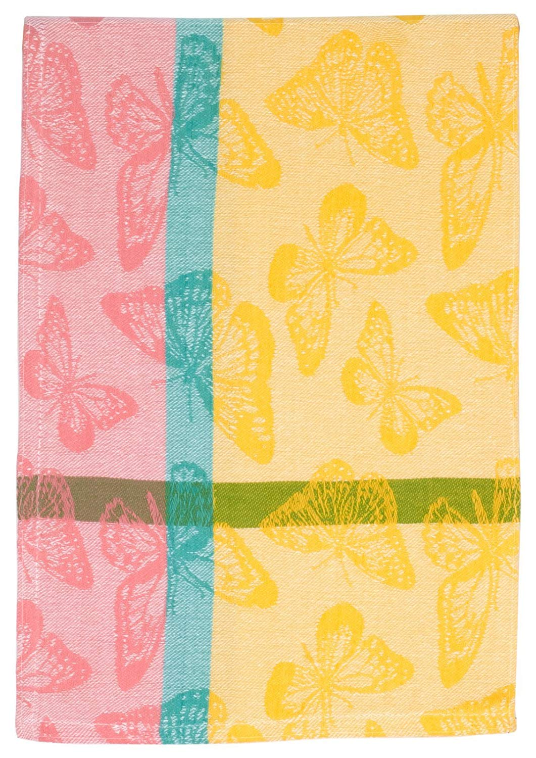 """Traders and Company 100% Cotton Yellow Pink & Blue 20""""x28"""" Dish Towel, Set of 6 - Butterflies Lemon"""