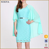 Fashion Chiffon Joint Lace Short sleeve Light Sea Green Dress Designs Latest Party Wear Breathable Dresses For Girls