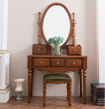 Antique Dressing Table With Mirror And Stool Luxury Furniture American  Solid Wood Furniture 711
