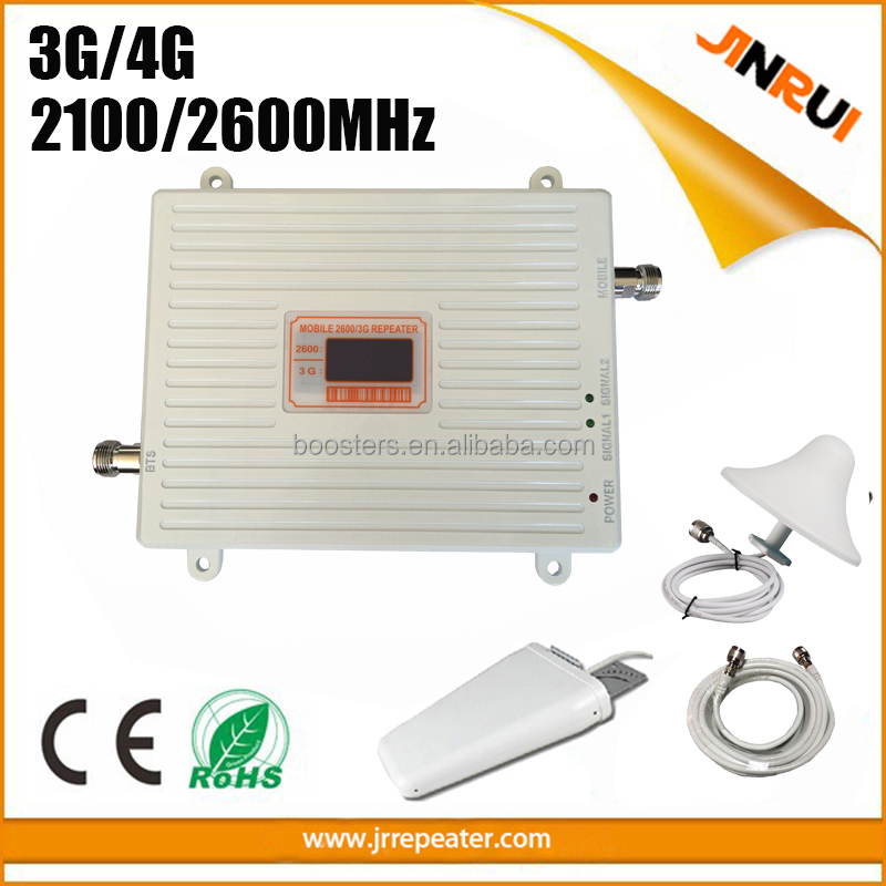 Cell Phone Signal Repeater 3G 4G WCDMA 2100 LTE 2600 Band 7 75dB Cellular Amplifier Booster