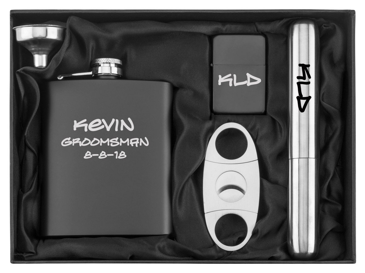 Engraved 7oz Stainless Steel Flask Funnel Cigar Cutter Lighter Gift Set Custom Personalized