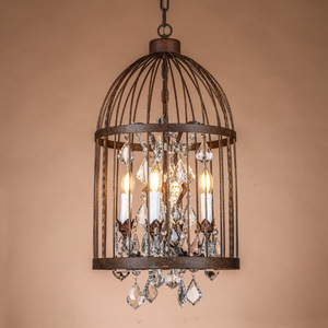 American country vintage birdcage crystal chandeliers for clothing store restaurant villa staircase lighting crystal lamp