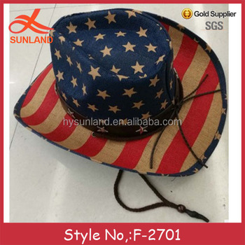 3c4b276dfde12 F-2701 character 2017 used usa flag plain felt cowboy hats wholesale for  sale
