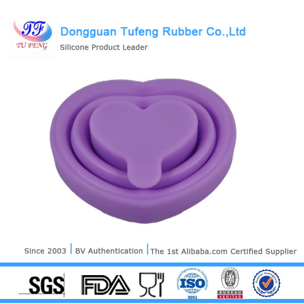 Fashionable ISO:2008 system colorful silicone folding cup