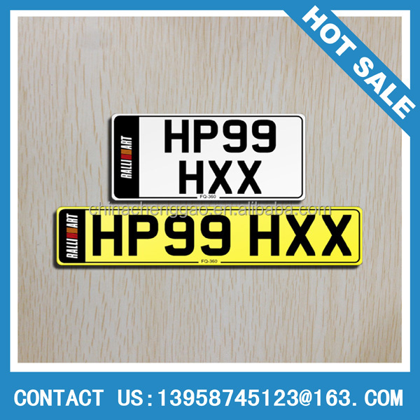 custom plastic car license plates / vehicle number plates