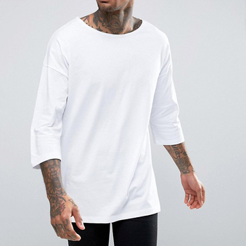 56750f20792 Men's Top Quality White 100% Cotton Boat Neck Oversized 3 4 Sleeve T ...