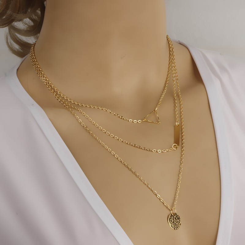 Elegant Design Golden Chain Necklace With Personal Name Bar Disc ...