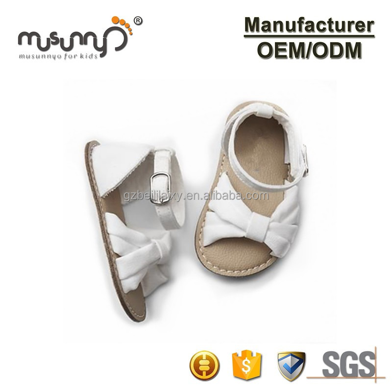 Genuine leather upper materials pigskin lining bow knot sandals for prewalkers