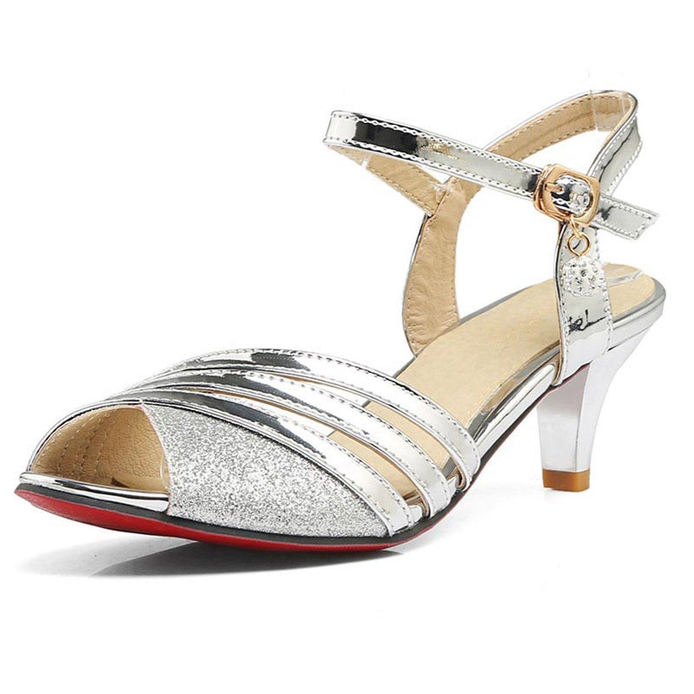 3d1e10deec6886 Get Quotations · Carolyn Jones 2017 Women Sandals Gold Silver Peep Toe  Gladiator Sandals Woman Thick High Heel Sandals