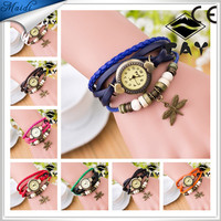 Free Shipping Fashion Bangle Bracelet Watch Four-Winged Dragonfly Retro Leather Watches VW012