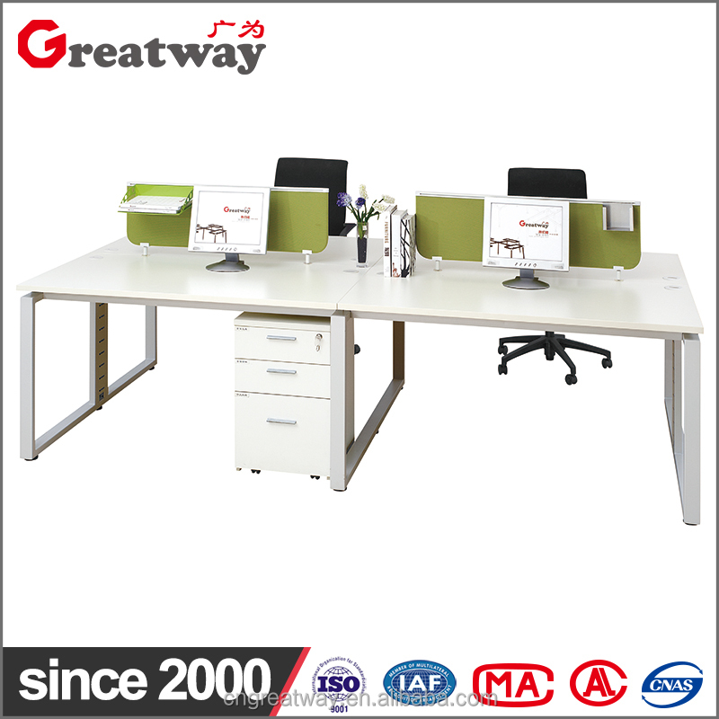 Nice design staff used office workstation call center table with alloy base for four people (QE-21-C-F)