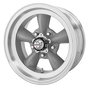 American Racing Custom Wheels VN105 Torq Thrust D Torq Thrust Gray Wheel With Machined Lip (15x10/5x114.3mm, -44mm offset) by American Racing