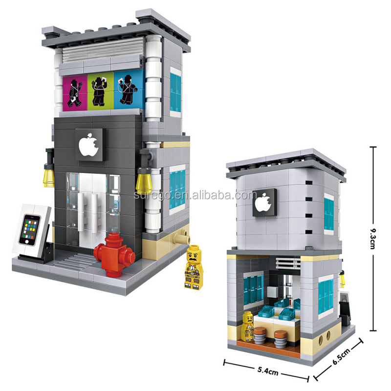 Loz Mini Street Retail Store Shop Architecture 3D Model Building Blocks Apple Store <strong>City</strong> View Scene Assembly Bricks