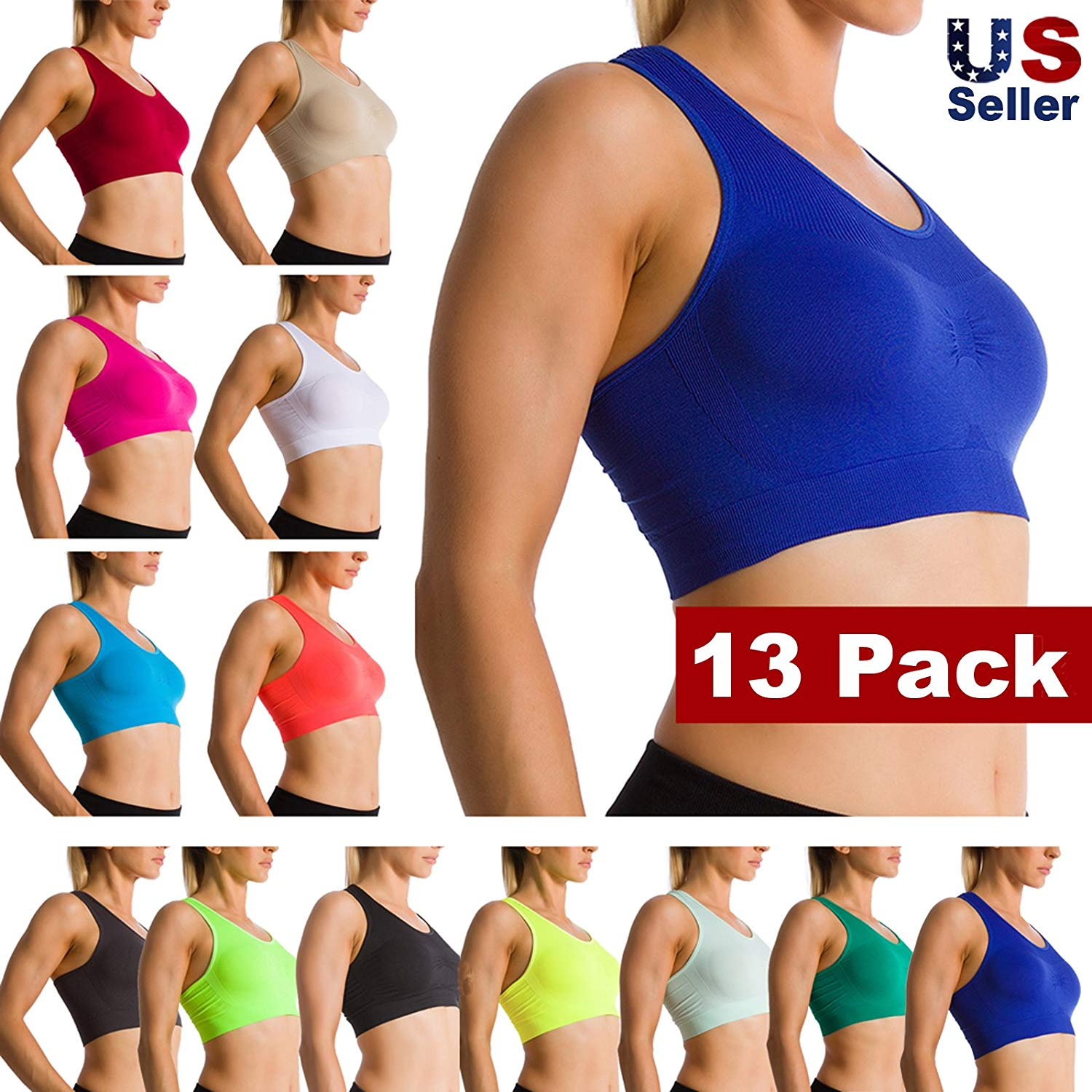 f82c7545df Get Quotations · Ekimo-TUSA 13 Pack Light Weight Women Seamless Racer-Back  Sports Fitness Yoga Bra