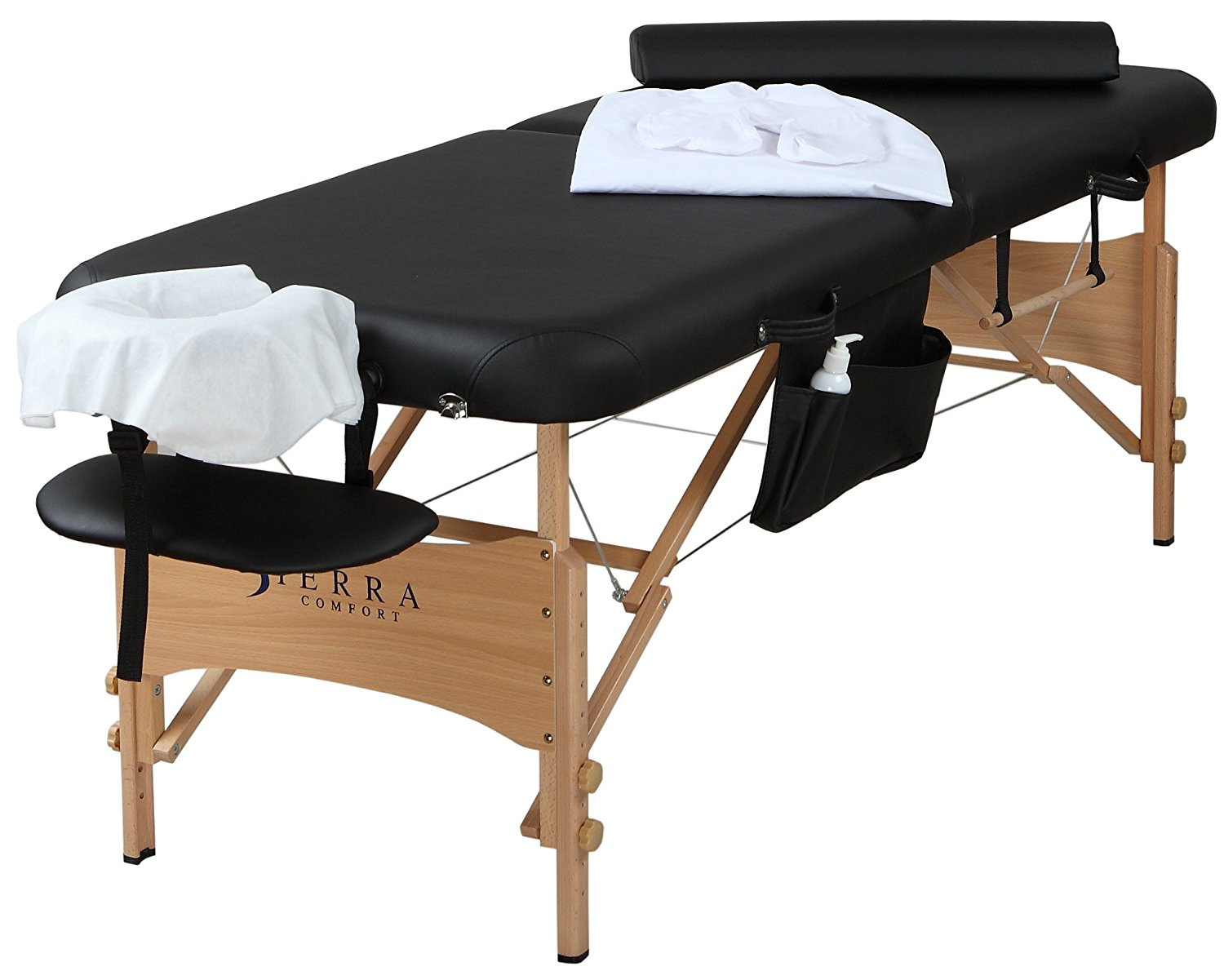Sierra Comfort All-Inclusive Portable Massage Table with New Accessory Package, Black